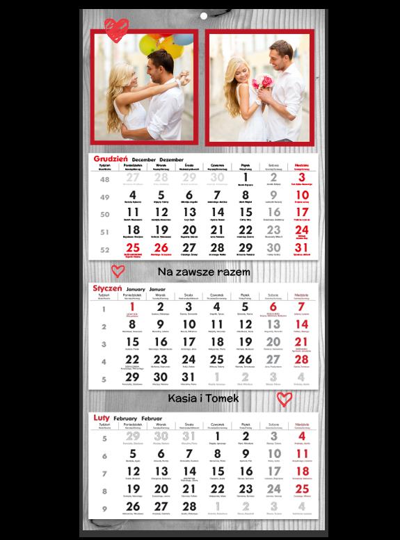"""Fotokalendarz trójdzielny """"Drewniana faktura"""""""