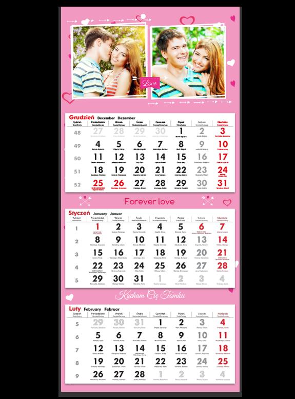 """Kalendarz trójdzielny """"Forever love"""""""