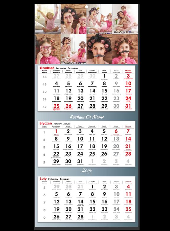 """Kalendarz trójdzielny """"Gray"""""""
