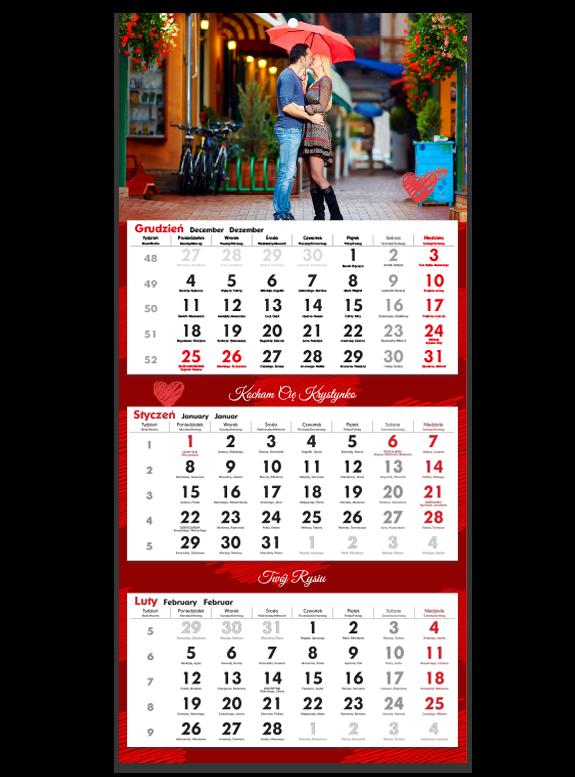 """Fotokalendarz trójdzielny """"Love story"""""""