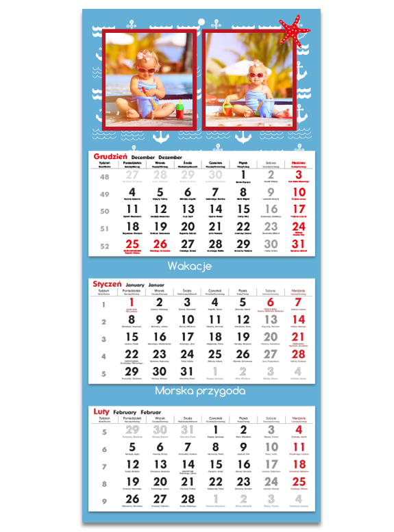 """Fotokalendarz trójdzielny """"Morska przygoda"""""""